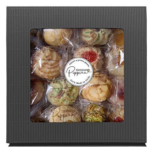 NONNA PIPPINA Pasticcini Siciliani, 1.000g, traditionell handgemachtes gemischtes Mandelgebäck aus Sizilien, in schöner Geschenk-Box