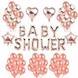 Toupons Baby Shower Décorations de fête Ballons- Or Rose Baby Shower Lettre Ballon...
