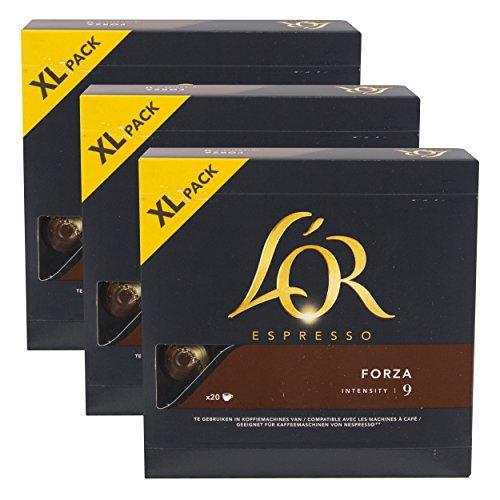 Douwe Egberts L 'OR Espresso Forza XL, Cápsulas de Café, compatible con Nespresso, gorda Café Tostado, 60Cápsulas de café