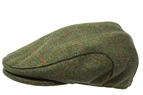 Platte tweed-muts, hoogwaardige Schottische tweed, teflon gecoat, in jacht/boeren/ruiterstijl