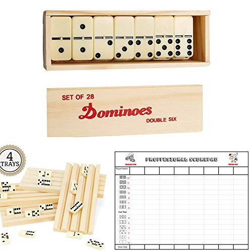 Double 6 Dominoes Set for Adults - 4 Domino Holders/Trays - Score Pad/Card 100 Sheets…