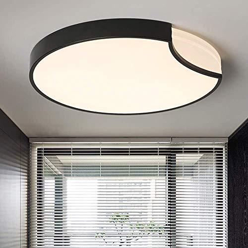 DEJ ronde lampen, wit en zwart, kunst-plafondlamp, plafondlamp, LED, voor woonkamer, slaapkamer, diameter 50 cm, zwart, dimbaar