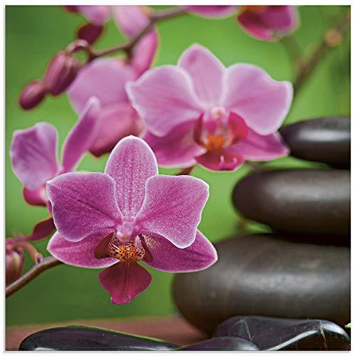 Artland Glasbilder Wandbild Glas Bild einteilig 50x50 cm Quadratisch Asien Wellness Zen Spa Steine Blumen Blüten Entspannung Pink T5OM