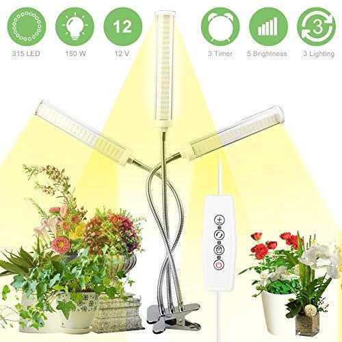 AQOTER LED Pflanzenlampe Vollspektrum 150W 315 LEDs, Pflanzen Led Pflanzenlicht Pflanzenleuchte Wachstumslampe Wachsen Licht Grow Lampe Light für Zimmerpflanzen mit 3 Timer 3 Modus 5 Helligkeit