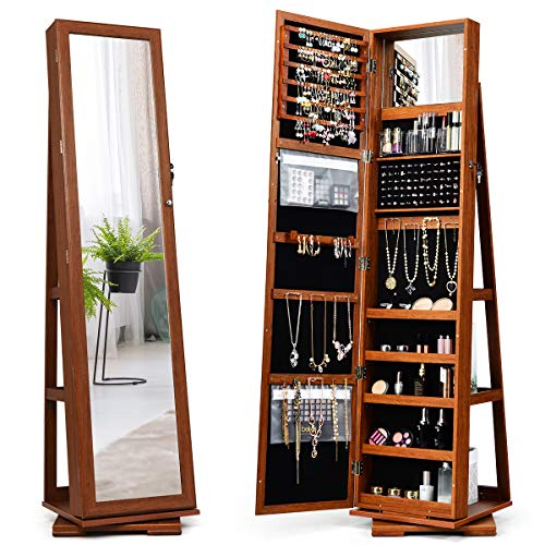 CHARMAID 360° Rotating Jewelry Armoire with Higher Full Length Mirror, Standing Lockable Jewelry Cabinet Organizer with Large Storage Capacity, Inside Makeup Mirror, Bonus Storage Shelves (Walnut)
