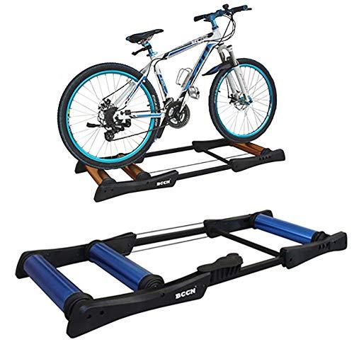 FACAI Home Trainer Vélo Rouleaux d'exercice Intérieur 24-29 Pouces Formation À VTT Fitness Pliable Résistance Formateur,Black-Blue