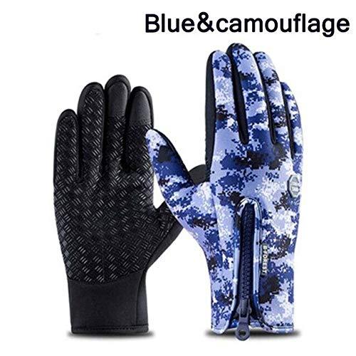 IMmps Touchscreen Handschuhe Winterski Herren und Damen Handschuhe Mode Schwarz Reiten warm Winddicht wasserdicht Handschuhe rutschfest Reithandschuhe-T3532blue-camouflage-L