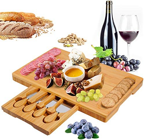 Bamboo Cheese Board and Knife Set Cheese Plate Charcuterie Platter Serving Tray for Wine Crackers product image