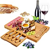 Bamboo Cheese Board and Knife Set, Cheese Plate Charcuterie Platter Serving Tray for Wine, Crackers,...