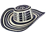 col-p Colombian Hat Sombrero Sinuano Arrow Cane Caña Flecha Vueltiao Made by Authentic Colombian Indigenous Good (Black & White, Arrow Cane 19 Laps)