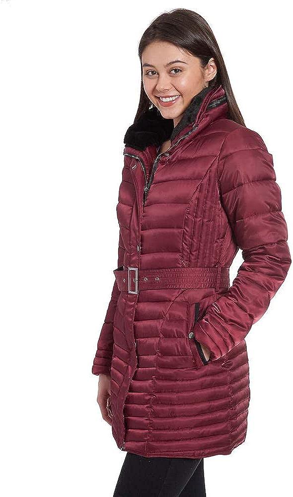 Fleet Street Women's Faux/Down Quilted Jacket w/Belt S Wine