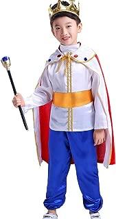 Spinas(スピナス) キング プリンス 王子 王様風 コスチューム 子供用 ハロウィン コスプレ キッズ 男の子 仮装 コスチューム 衣装セット ホワイト 王冠 杖
