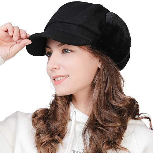 FancetHat Damen 50% Wolle Ballonmütze mit Ohrenschutz Winter Earflap Kappe Schwarz Fancet