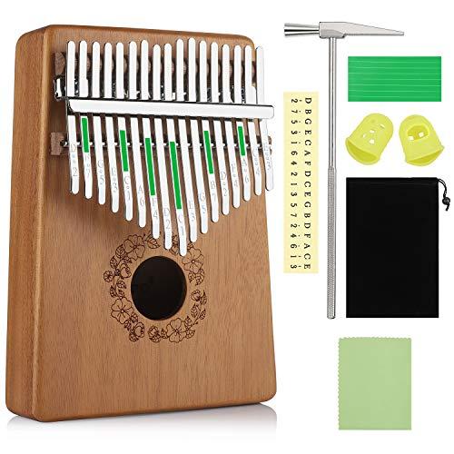 Anpro Kalimba 17 Clés Pouce Touches Piano Professionnel 1pcs Marimbas Marteau d'Accordage 7PCS Accessoires Comme Cadeau Pour Enfants Adultes- Sac de Rangement