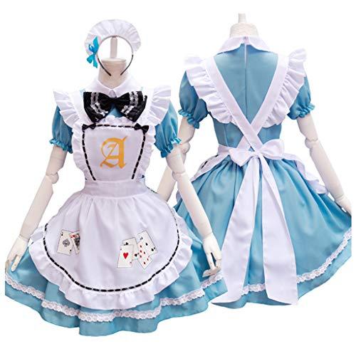 Hongfago Cosplay Kostüm French Maid Outfit Halloween, Dienstmädchen Karneval Kleid Nette Frauen Anime Französisch Maid Schürze Kostüm , 4er Set, Kleid, mit Kopfbedeckungen, Schürze, Fake Halsband