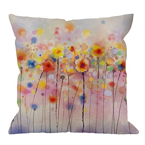 HGOD DESIGNS Flower Pillow Case,Watercolor Poppy Flower Smudging Art Design Cotton Linen Cushion Cover Square Standard Home Decorative for Men/Women 18x18 inch Blue Yellow Red