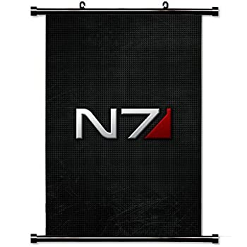 Wall Posters Wall Scroll Poster with Mass Effect N Font Shadow Home Decor Fabric Painting 23.6 X 35.4 Inch