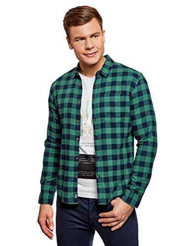 oodji Ultra Hombre Camisa de Algodón a Cuadros, Verde, сm 44 / ES/XL