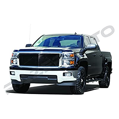 Razer Auto Triple Chrome Plate Outer Shell with Gloss Black Billet Grille Complete Factory Replacement Grille Shell for 2014-2015 Chevy Silverado 1500