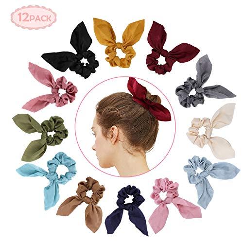 Bowknot Haargummis Superweiche 2 in 1 Design Solid Colors Haargummis Pferdeschwanz Halter mit Bögen Haarschmuck Seile für Frauen (Blau)