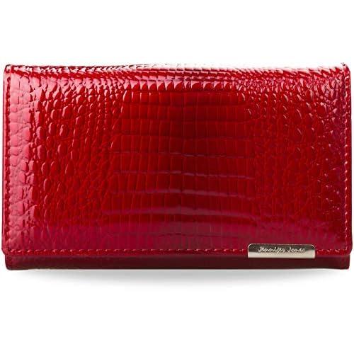 Elegante laccato da donna – Portemonnaie naturale al 100% in pelle elegante laccato da donna – Portamonete 100% Pelle naturale Jennifer Jones, rosso (Rubin Rot), Small