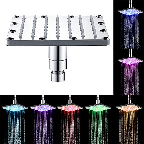 Coohole Shower Head Square Automatic 7 Color Changing LED Showerhead Faucet Water Glow Light Household Shower Replacement Your Bathroom Easy to Installation