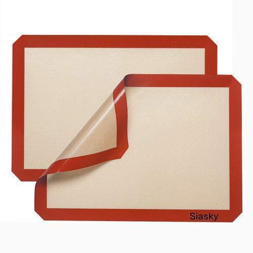 Siasky 2Pcs Silicone Non Stick Baking Mats, 16' X 12', Orange Red