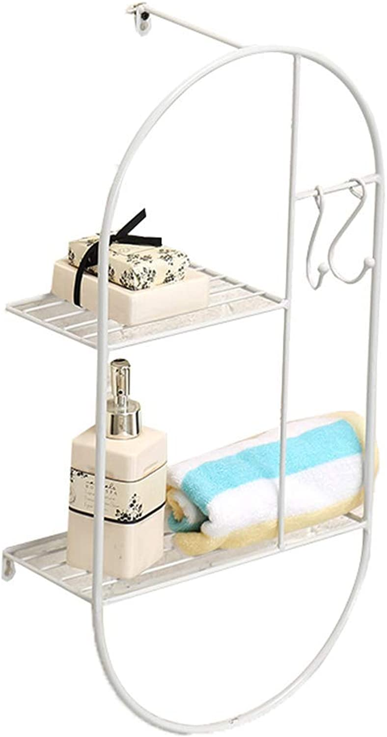 Storage Shelf Bathroom Shelves Rack Wall Mount Storage Two Layers Rust Prevention Not Fade with Hook Durable Iron Art, 3 colors Home Stand (color   White, Size   30x14x60cm)