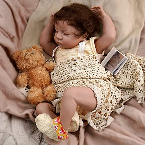 JIZHI Lifelike RebornBaby Dolls Girls [Washable & Poseable] Full Vinyl Body 17 Inch Sleeping Realistic Newborn Baby Dolls Real Life Baby Dolls for Kids Age 3+