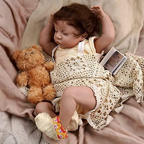 JIZHI Lifelike RebornBaby Dolls Girls [Washable & Poseable] Full Vinyl Body 17 Inch Sleeping Realistic Newborn Baby...