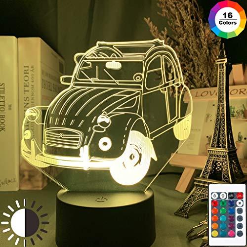Vintage Car 2cv Oficina para adultos Cool Classic Car Night Light 3D LED Lámpara de mesa niños regalo de cumpleaños decoración de la habitación junto a la cama