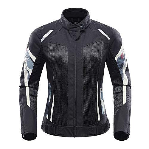 TIUTIU Motorradjacke Radsportjacke Damen Sommer Mesh Jersey Langarm Airy Slim Racing Anzug Mit Reflektierendem Material (Black,L)