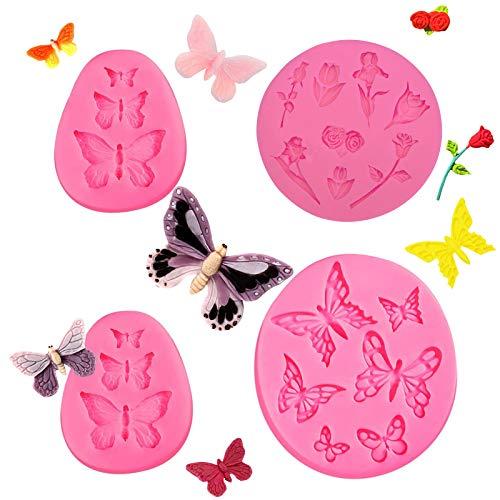 4 piezas de moldes de silicona de mariposa y flor para fondant de chocolate, arcilla polimérica, jabón, cera, decoración de tartas de manualidades, manualidades de azúcar
