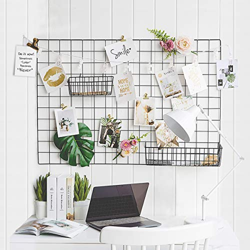 GBYAN 2 Pack Wall Grid Panels Photo Display Multifunctional Wire Wall Organizer Iron Rack with Decoration Light for Hanging Pictures, Small Plants, 25.6