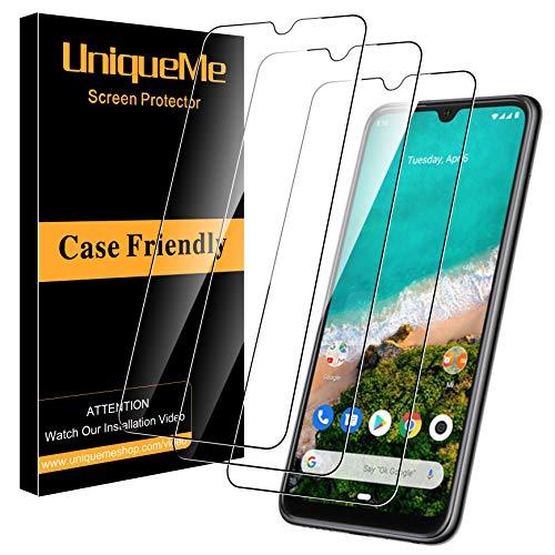 UniqueMe per Xiaomi Mi A3 Pellicola Protettiva, [3 Pezzi] [Ultra Resistente] [Bubble Free] Vetro Temperato [Garanzia di Sostituzione a Vita]
