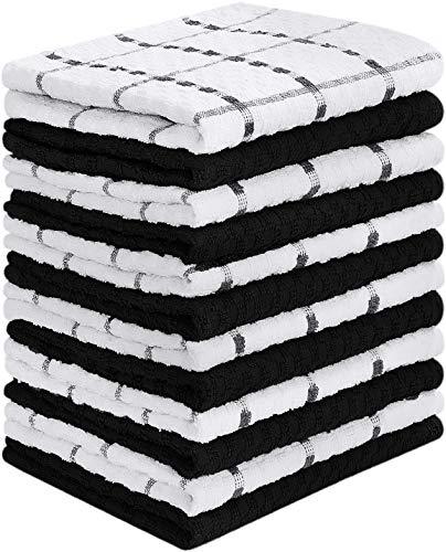 Utopia Towels - 12 Toallas de Cocina (38 x 64 cm) (Blanco y Negro)