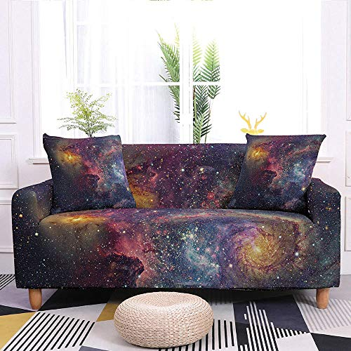 Stretch Sofa Slipcover,Starry Sky Print Non-Slip Soft Geometric Couch Covers,Washable Furniture Protector,For Living Room Corner Sectional Couch Cover,Adjustablea Elastic Bottom,Wine Red,2Pcs Pillowca