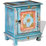 vidaXL Mesita Noche Azul Madera Mango Mesa Centro Auxiliar Mueble Dormitorio