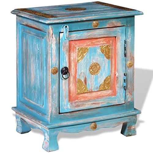 vidaXL Mangoholz Massiv Nachttisch Handgefertigt Nachtschrank Nachtkonsole Nachtkommode Schlafzimmer Kommode Schrank Beistelltisch Blau