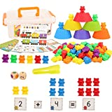 Barwa Colorful Counting Bears Set - Montessori Rainbow Bears Mathing Game with Stacking