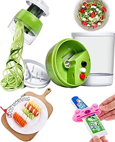 spiralschneider gemüse zoodle maker zucchini spaghetti schneider zuchini gemüseschneider spiralschäler gemüsespaghetti für kartoffel Gurke Zwiebel mit Behälter+ Spiral Schnitzwerkzeug+ tubenquetscher