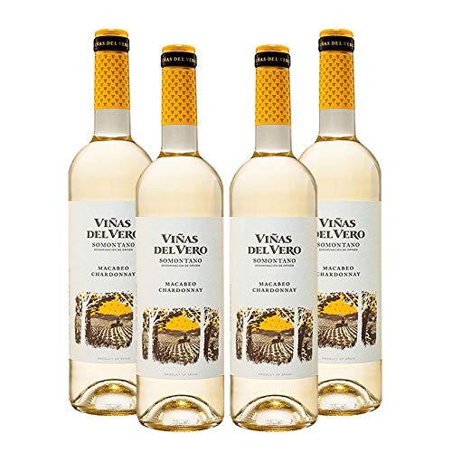 Vino blanco Viñas del Vero Macabeo-Chadonnay de 75 cl - D.O. Somontano - Bodegas Gonzalez Byass (Pack de 4 botellas)