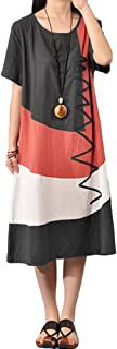 Romacci Women's Baggy House Dress Plus Size Pockets O Neck Short Sleeves Casual Loose Dress Cotton Vintage Dress