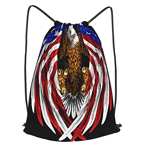AndrewTop Bolsa Cuerdas con cordón impermeable Unisex,America Eagle Gold Fur With Flag Wings Black Backgroud,LigeroCasual ,Deporte Gimnasio Mochilas