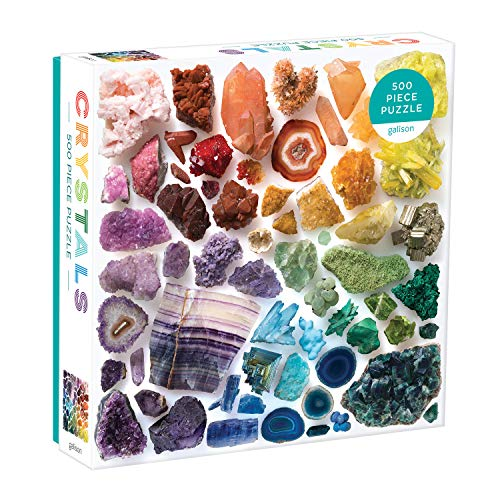 """Galison Rainbow Crystals Jigsaw Puzzle, 500 Pieces, 20""""x20"""" – Features an Array of Crystals and Gems in a Mesmerizing Rainbow of Color – Challenging, Perfect for Family Fun – Fun Indoor Activity"""