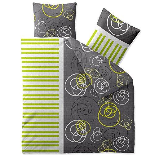 CelinaTex Enjoy Bettwäsche 200 x 220 cm 3teilig Baumwolle Bettbezug Seersucker Andrea Kreise Streifen Grau Grün Weiß