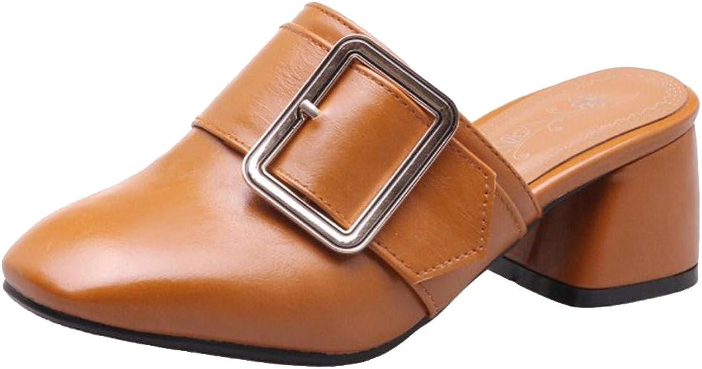 TAOFFEN Women Block Heel Mules shoes