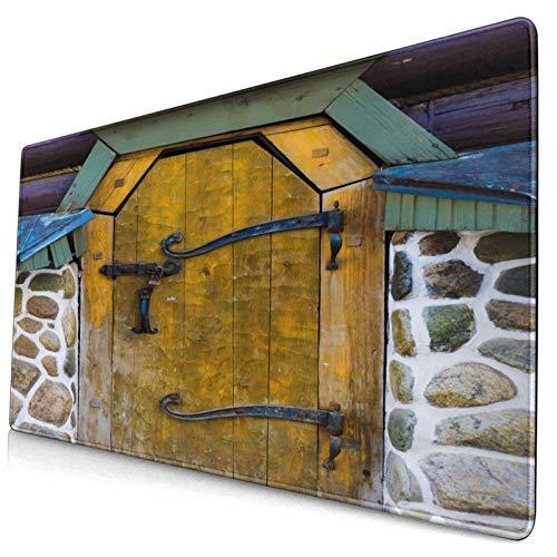 MUYIXUAN Alfombrilla Raton Impresión rústica de la casa de Piedra de la Puerta Antigua Alfombrilla Gaming Alfombrilla para computadora con Base de Goma Antideslizante,750×400×3mm