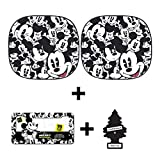 Auto Car Windshield Sunshade with Disney Mickey Expressions Design 2 Piece with License Plate Frame