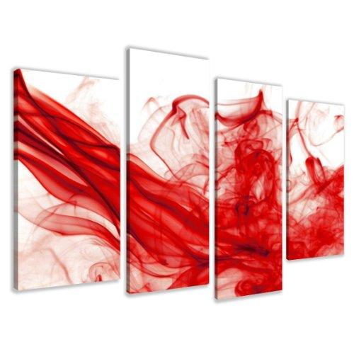 Quadro su tela smoke red 130 x 80 cm 4 tele modello nr XXL 6120. I quadri sono montati su telai di vero legno. Stampa artistica intelaiata e pronta da appendere